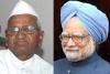 Anna Hazare and Manmohan Singh